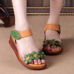 LARKSPUR - Genuine Leather Floral Wedge Sandals