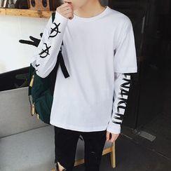 qiaqiayes - Long-Sleeve Mock Two Piece T-Shirt