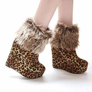 Mancienne - Detachable Furry-Trim Wedge Boots