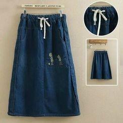 Suzette - Cartoon Embroidered Washed Denim Skirt