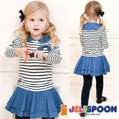 JELISPOON - Girls Set: Striped Top + Inset Mini Skirt Leggings