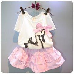 Rakkaus - Set: Short-Sleeve Bow-Accent Printed T-Shirt + Striped Layered A-Line Skirt
