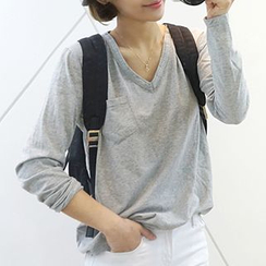 Seoul Fashion - V-Neck Long-Sleeve T-Shirt