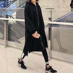 Seoul Fashion - Fleece-Lined Zip-Up Long Hoodie