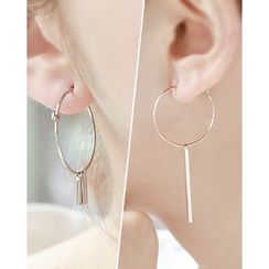 Miss21 Korea - Asymmetric Bar-Dangled Hoop Earrings