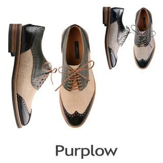 Purplow - Color-Block Wing-Tip Oxfords