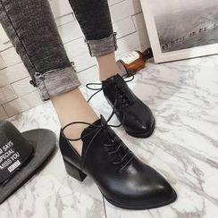 杨董 - 粗跟系带鞋