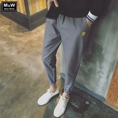 Masowild - Smiley Face Drawstring Jogger Pants