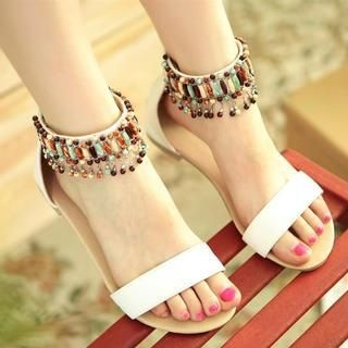 77Queen - Beaded-Strap Sandals