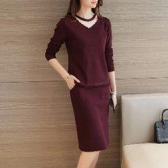 Romantica - Set: Cutout Paneled Knit Top + Knit Skirt