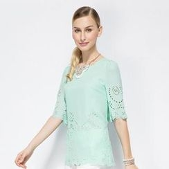 O.SA - Elbow-Sleeve Chiffon Top