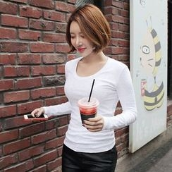 Seoul Fashion - Scoop-Neck Slim-Fit T-Shirt
