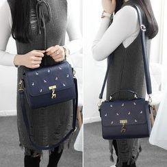 Princess Carousel - Deer Embroidered Handbag with Shoulder Strap