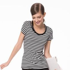 O.SA - Cutout-Neckline Striped Top