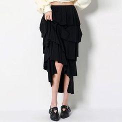 FASHION DIVA - Ruffle-Tiered Long Skirt