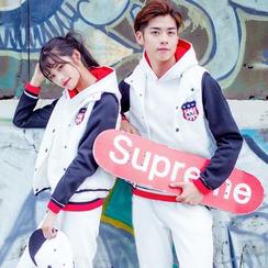 NoonSun - Couple Matching Set: Hoodie + Vest + Sweatpants