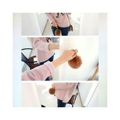 LEELIN - Frilled-Neckline Appliqué T-Shirt