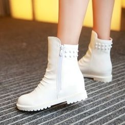 Pretty in Boots - Rhinestone Hidden Wedge Short Boots