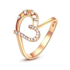 MaBelle - 18K/750 Rose Gold Diamond Accent Heart Women Ring