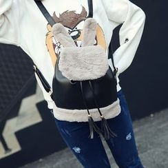 Seok - Rabbit Ear Faux Leather Backpack