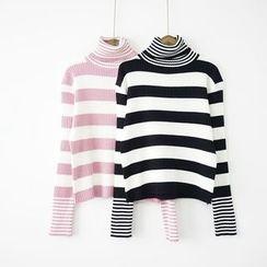 Polaris - Striped High Neck Sweater