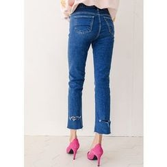J-ANN - Fray-Hem Straight-Cut Jeans