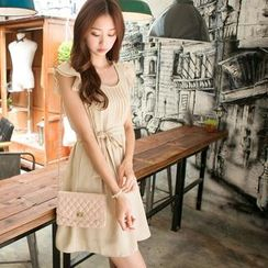 Tokyo Fashion - Ruffled Pintuck Tie-Waist Dress