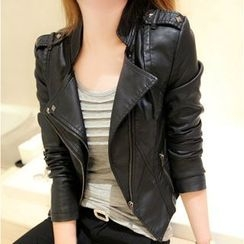 Bluewind - Faux Leather Biker Jacket