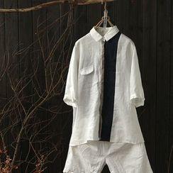 Rosadame - 拼接麻布棉质中袖薄夹克
