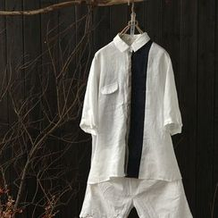 Rosadame - 拼接麻布棉質中袖薄夾克