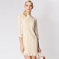 O.SA - Mock-Neck Lace Shift Dress