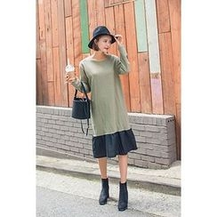 migunstyle - Color-Block Ruffle-Hem Dress