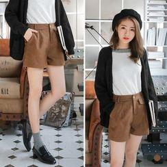 OrangeBear - Constructed Pleated Woolen Shorts