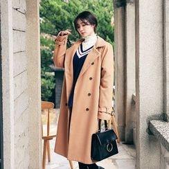 Seoul Fashion - Double-Breasted Brushed-Fleece Coat with Belt