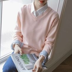 JUSTONE - V-Neck Colored Sweater