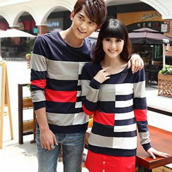 Igsoo - Couple Long-Sleeve Color Block T-Shirt / T-Shirt Dress