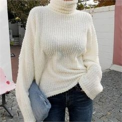 LIPHOP - Turtle-Neck Loose-Fit Knit Top