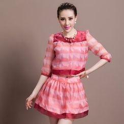 Ozipan - Set: 3/4-Sleeve Printed Top + Skirt