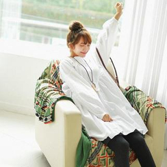 GOROKE - Mandarin-Collar Loose-Fit Shirtdress
