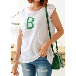 J-ANN - Cap-Sleeve Lettering Cotton T-Shirt