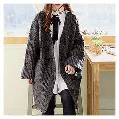 Sechuna - Slit-Side Wool Blend Long Cardigan