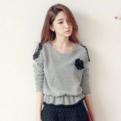 Tokyo Fashion - Long-Sleeve Lace Panel Frilled Blouse