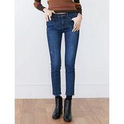 FROMBEGINNING - Fray-Hem Slim-Fit Jeans