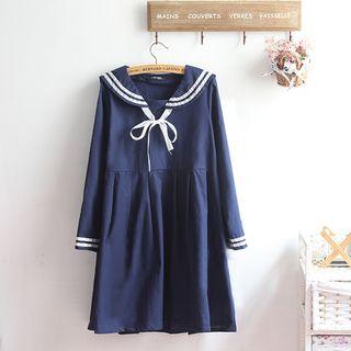 akigogo - Short-Sleeve Sailor A-Line Dress