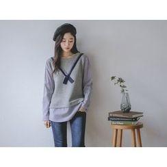 JUSTONE - Inset Wool Blend Top Stripe Shirt