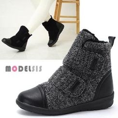 MODELSIS - Faux-Leather Trim Velcro Ankle Boots