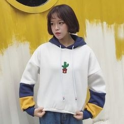 Bloombloom - Embroidered Color Block Hoodie