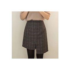 CHERRYKOKO - Asymmetric Wool Blend Plaid Mini Skirt