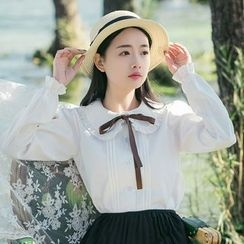 Sens Collection - Frill Trim Long Sleeve Blouse