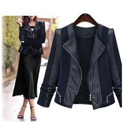 Coronini - Faux Leather Panel Biker Jacket